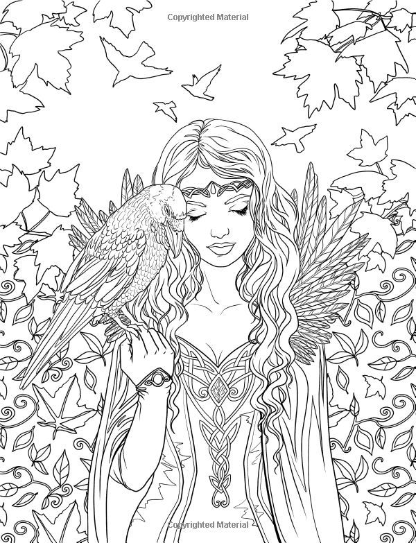 Artist Selina Fenech Fantasy Myth Mythical Mystical Legend Elf Elves Dragon Dragons Fairy Fae Wings Fairies Colouring PagesAdult