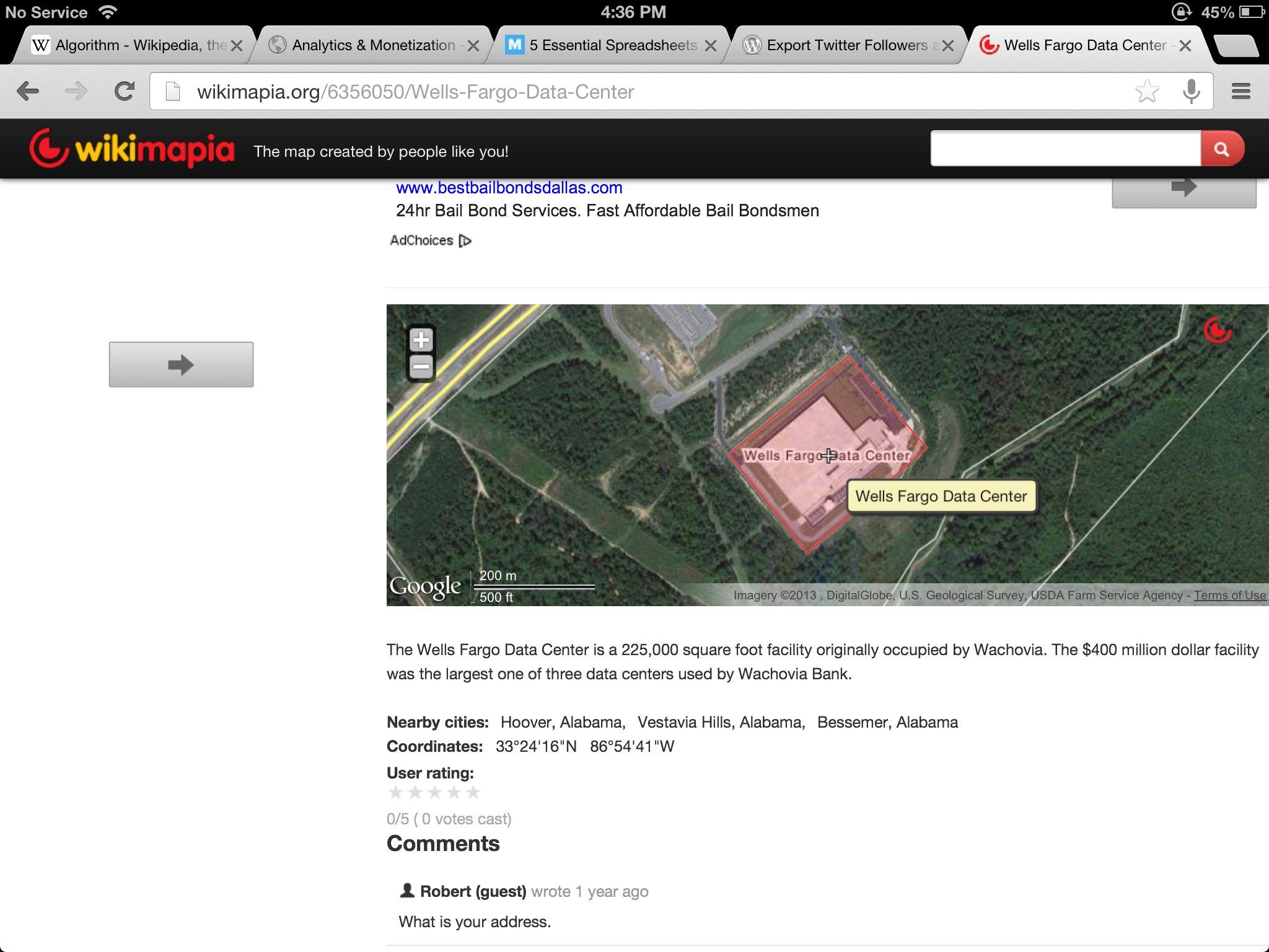 Wells Fargo Data Center, Oxmoor, Alabama. 400 million