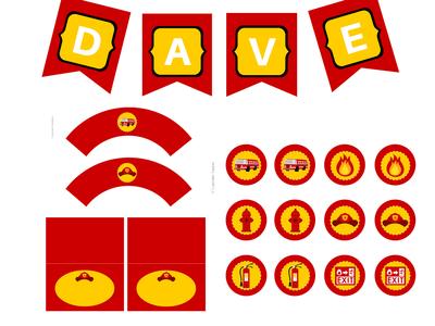 Fireman Baby Shower, Fireman Birthday Party, Fireman Printables, Sports Party Package, Fireman Theme, Fireman Banner, Fireman cake toppers