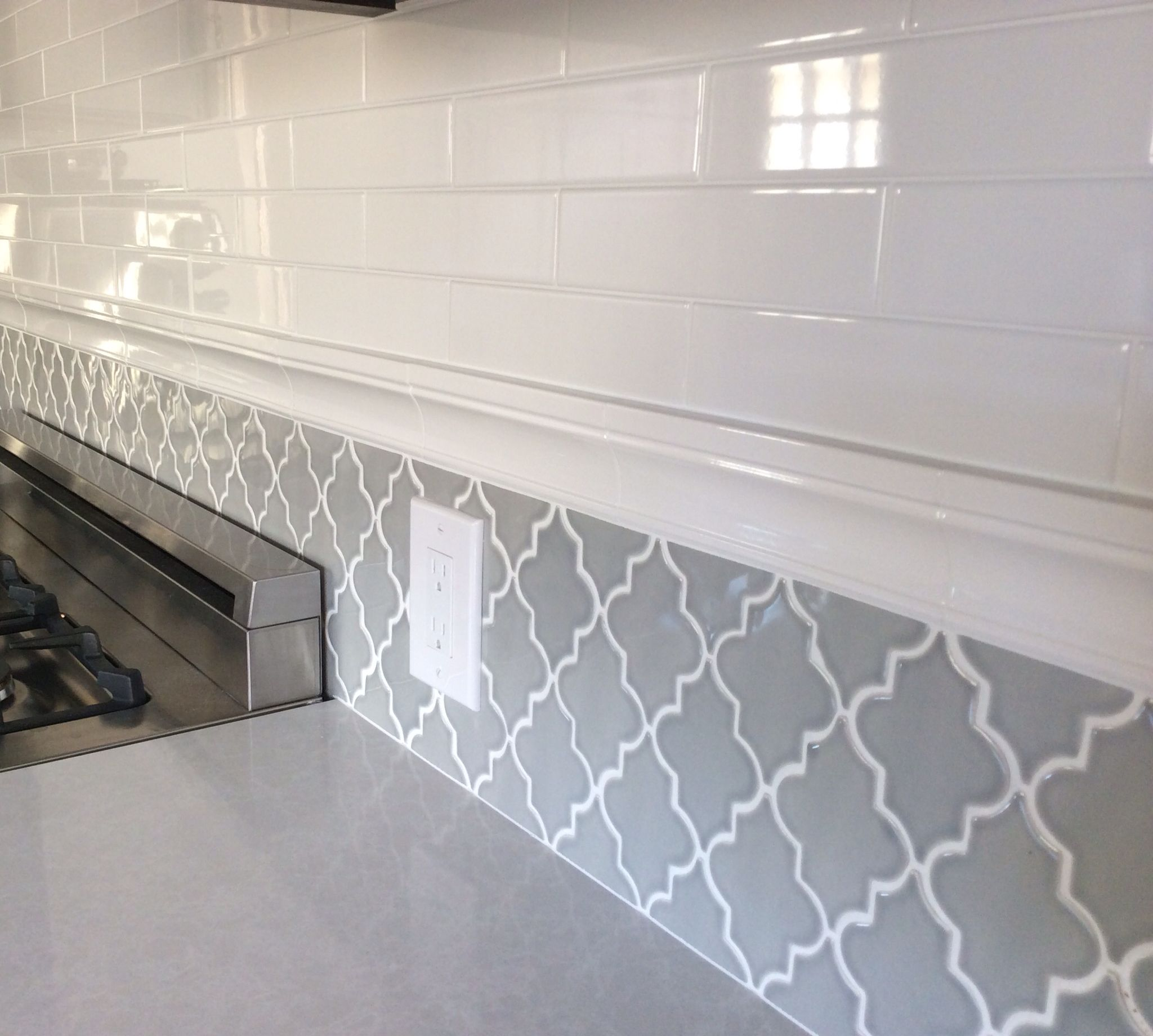 Backsplash in my new kitchen. Subway tiles and arabesque tile ...