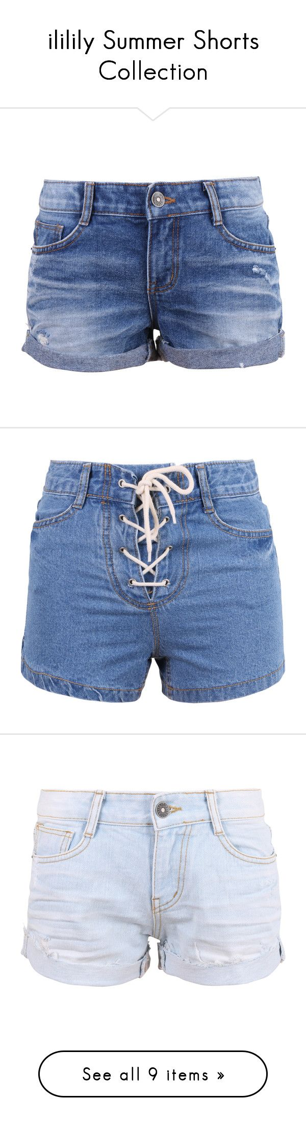 """""""ililily Summer Shorts Collection"""" by ililily ❤ liked on Polyvore featuring shorts, bottoms, denim, pants, vintage distressed shorts, roll up shorts, rolled shorts, torn shorts, vintage cut off shorts and high-waisted shorts"""