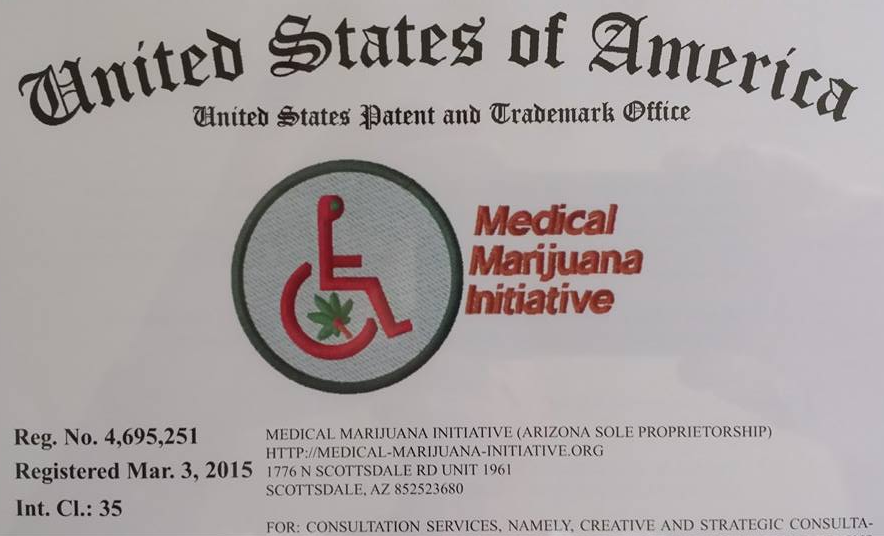 Snap of the recent USPTO registered trademark and service mark certificate for the Medical Marijuana Initiative of North America - International Limited. =============================  Clik the above photo to hyperlink to a (.pdf) copy of the original registration certificate.
