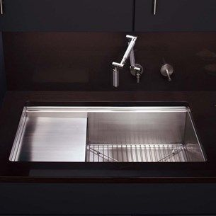 Kohler Stages Large Single Bowl Brushed Stainless Steel Sink With Reversible Drainer Accessory Pack 1143 X 470mm Best Kitchen Sinks Sinks Kitchen Stainless Sink