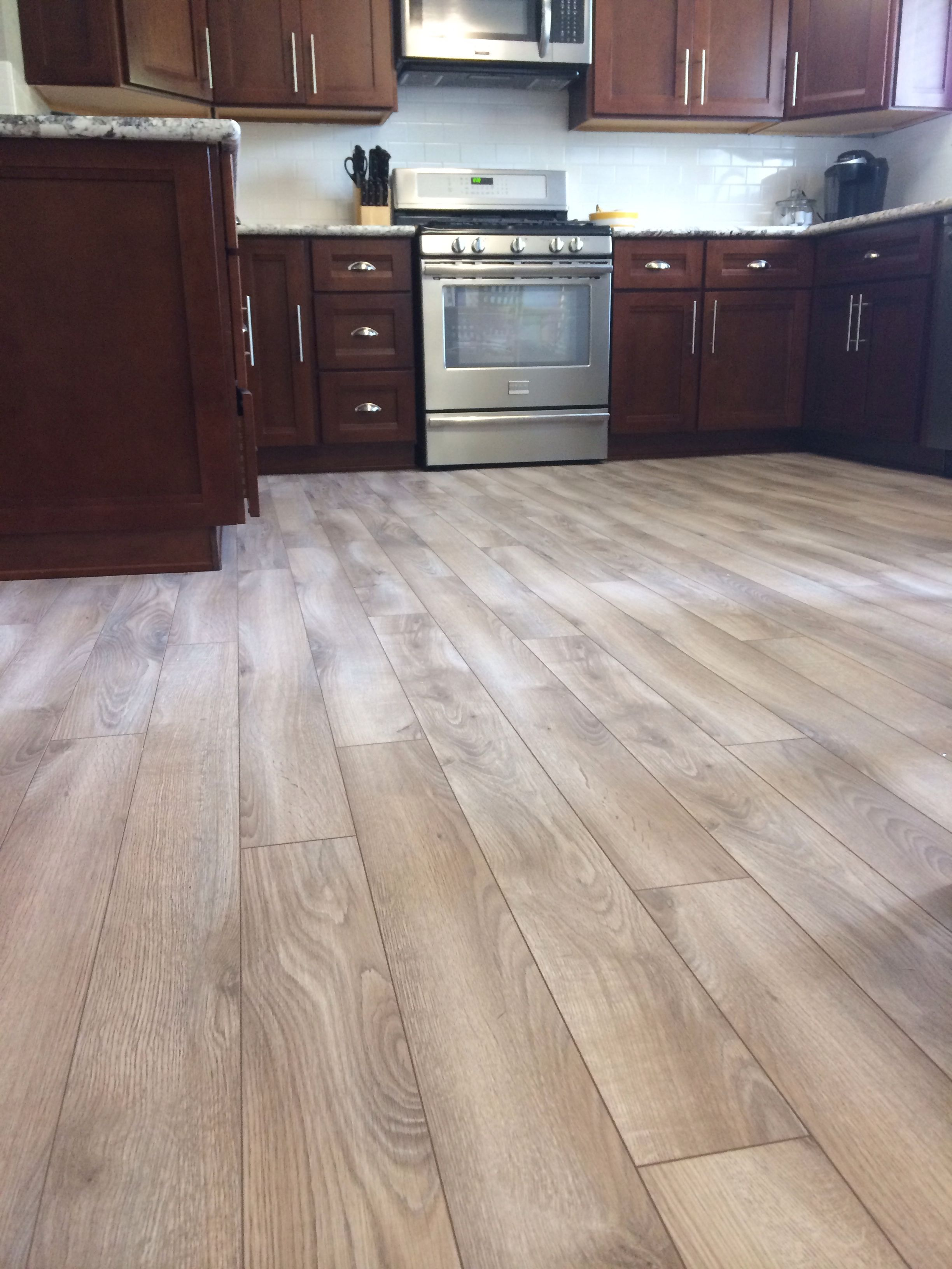 Grey Floors Delaware Bay Driftwood Floor From Lumber Liquidators With Dark Cherry Cabinets Cherry Cabinets Kitchen Cherry Wood Kitchens Cherry Wood Cabinets