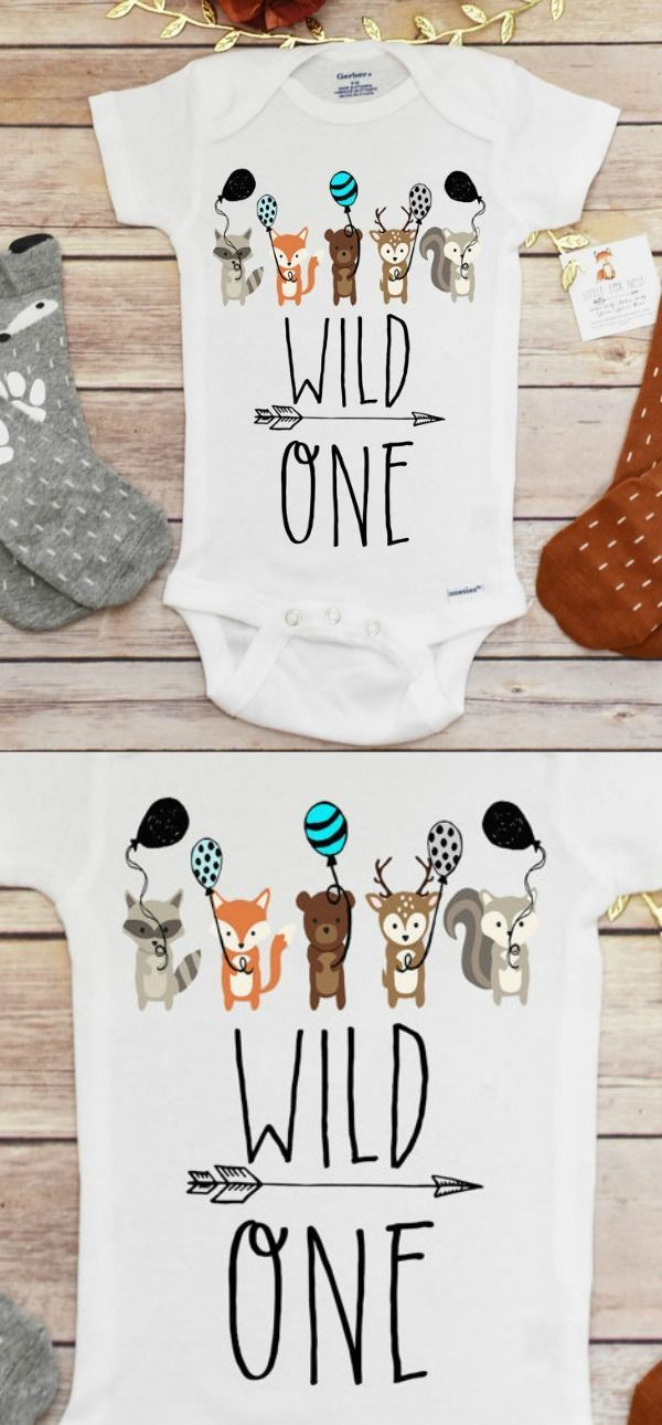 Birthday Shirt Outfit Boy Wild One Woodland Creatures Fox Affilate