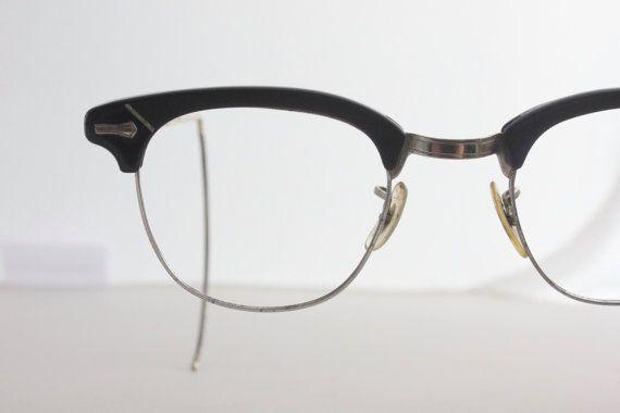 18bcba7b1a Vintage Mens Nerd Emo Black Shuron Horn Rim Eyeglasses Frame 1950s 1960s