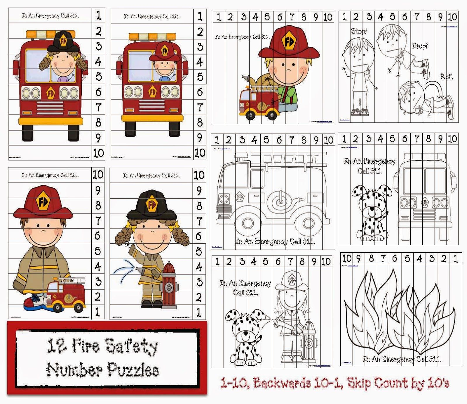 Fire Safety Number Puzzles Classroom Freebies Fire Safety Fire Safety Preschool Fire Safety Activities [ 1382 x 1600 Pixel ]