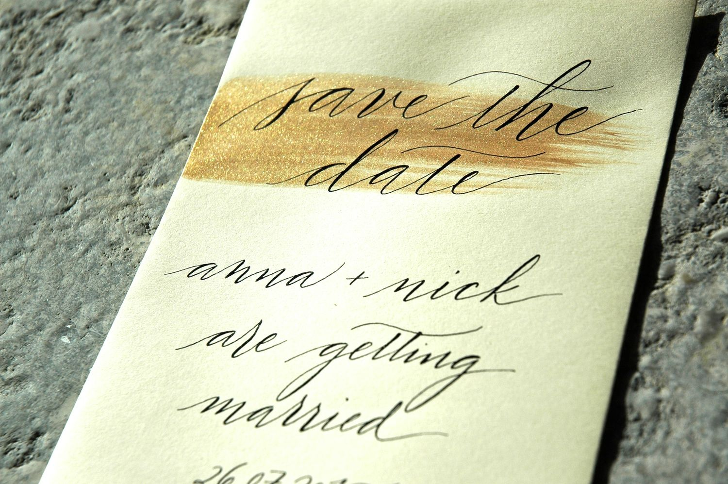 Modern calligraphy by studio french blue save the date ivory and