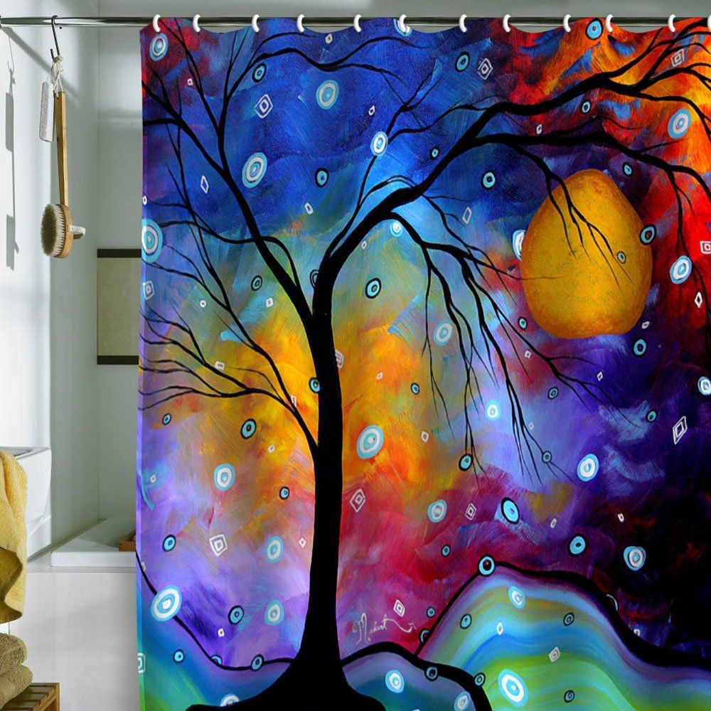 Funky Shower Curtains Tree Art Art Abstract
