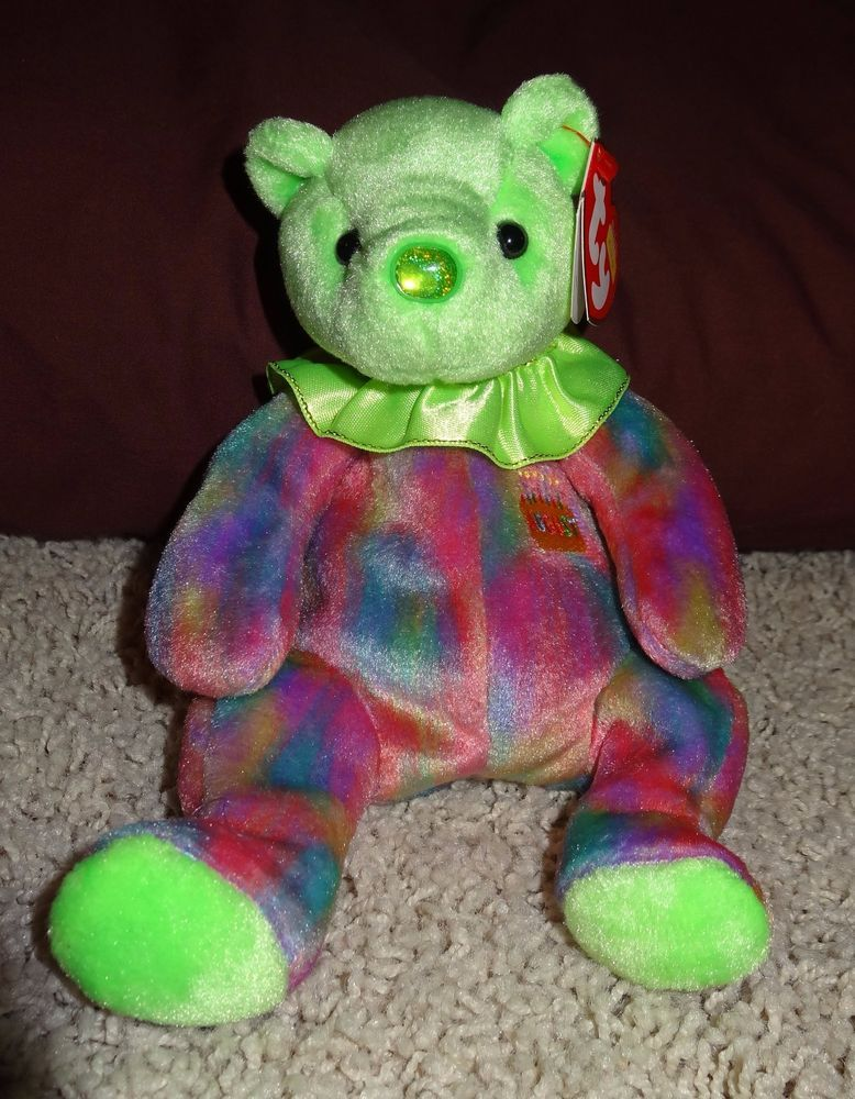e99e872c8b0 TY Beanie Baby August Bear Peridot Teddy Tags Retired 2001 Green Birthday  MintTH  Ty