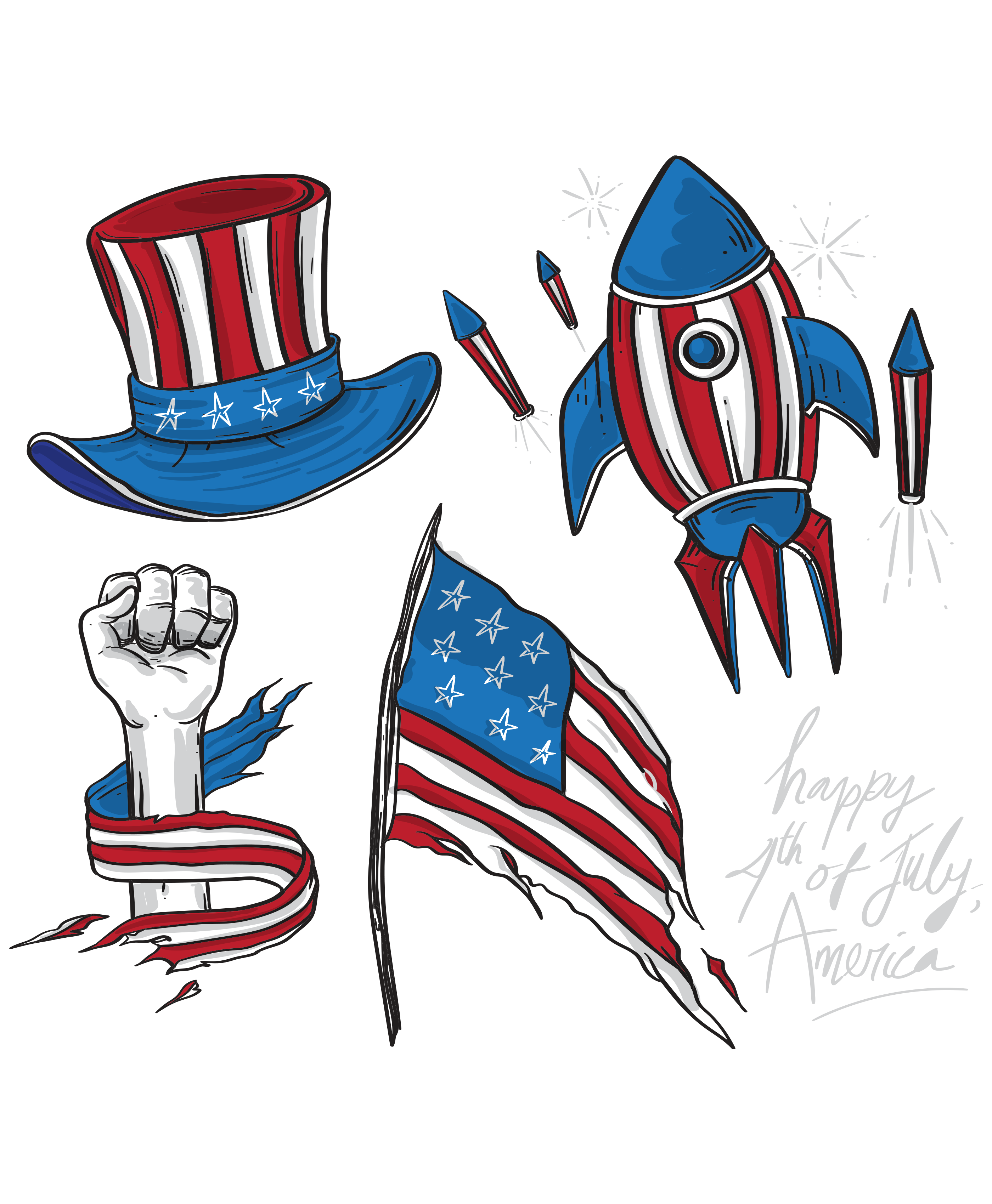 America Independence Day Cartoon Drawing In