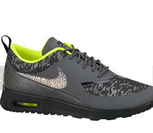 Over Half Off Swarovski Crystal Nike Air Max Thea Womens Running Shoes Gray  Volt Black d0511e5b2b02