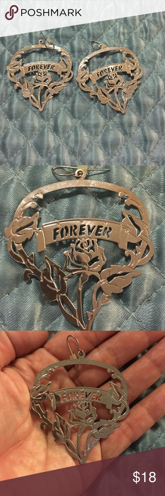 Adorable forever engraved earrings Forced engraved silver earrings Jewelry Earrings