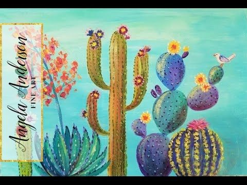 Southwest Colorful Cactus Acrylic Painting Tutorial Live Full