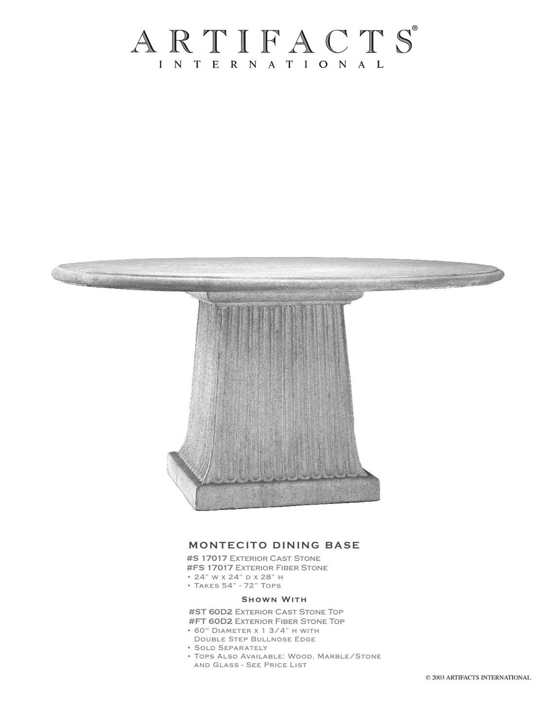 Artifacts International Cast Stone Fiberstone Dining Tables