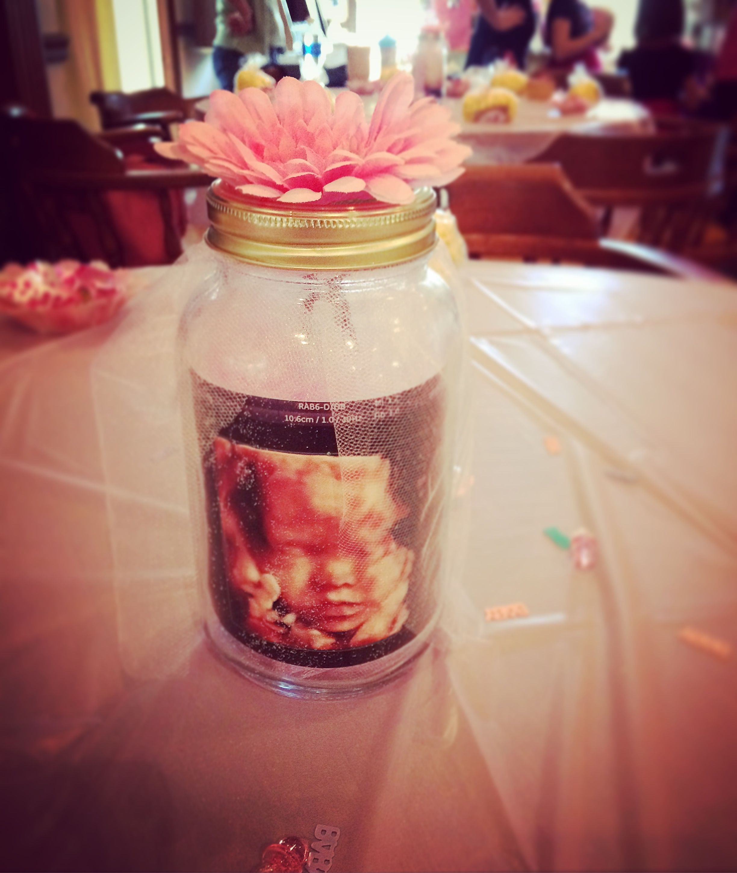 Gold And Pink Baby Shower Centerpiece Idea