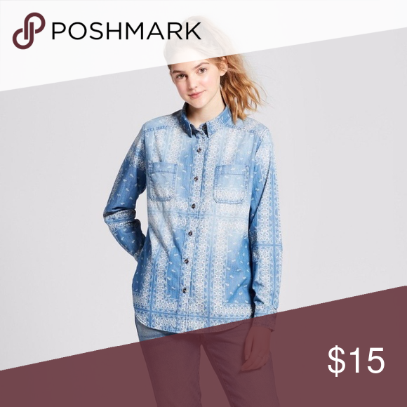 13507c4d337 Mossimo Supply Co. Women s Long Sleeve Denim Shirt Brand  Mossimo Supply Co  Color  Blue  printed fabric Style  Denim Shirt  Button Front
