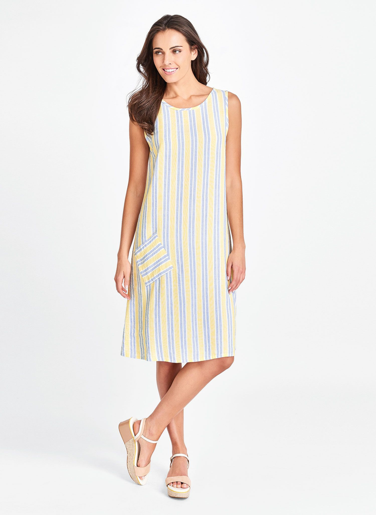 1c04df3971282 An easy shift style with a flattering high neckline is a summer must. FLAX  women's linen clothing.