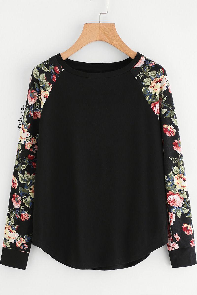 304ec26bd6 Floral Raglan Sleeve Curved Hem Top Fashion Stores, Fashion Websites, Women's  Fashion, Fashion