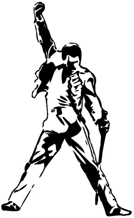 Black And White Silhouette Frrddie Mercury Wall Stickers