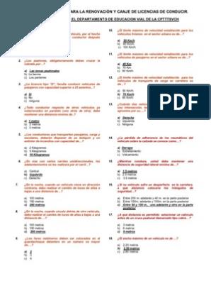 Cuestionario Clase B Examen Teorico De Conduccion 1 De 2 Neumatico Peatonal Prueba Gratuita De 30 Dias Scribd Cuestionarios Examen De Conducir Examen