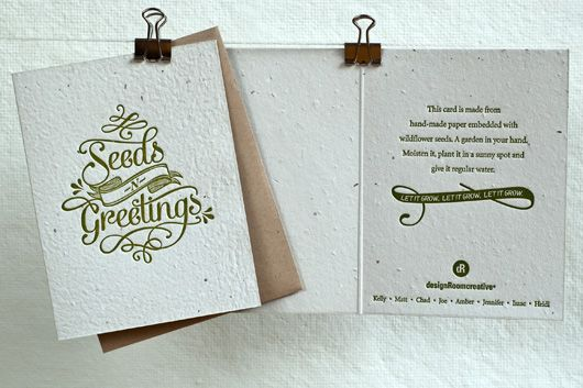 Holiday card for designRoom Creative, letterpress on plantable seeded card stock.