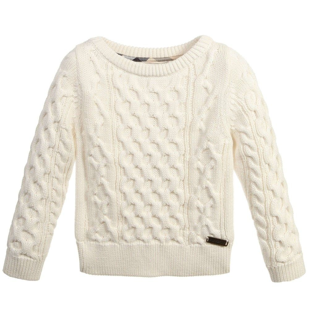 Ivory Cotton Cashmere Cable Knit Sweater | Knitwear, Knitting ...
