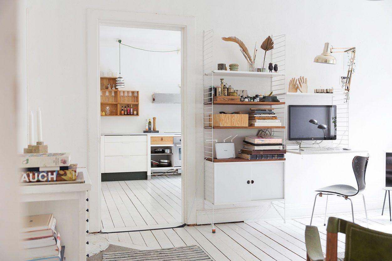 scandinavian farmhouse apartment interior kitchen with naked wood ...