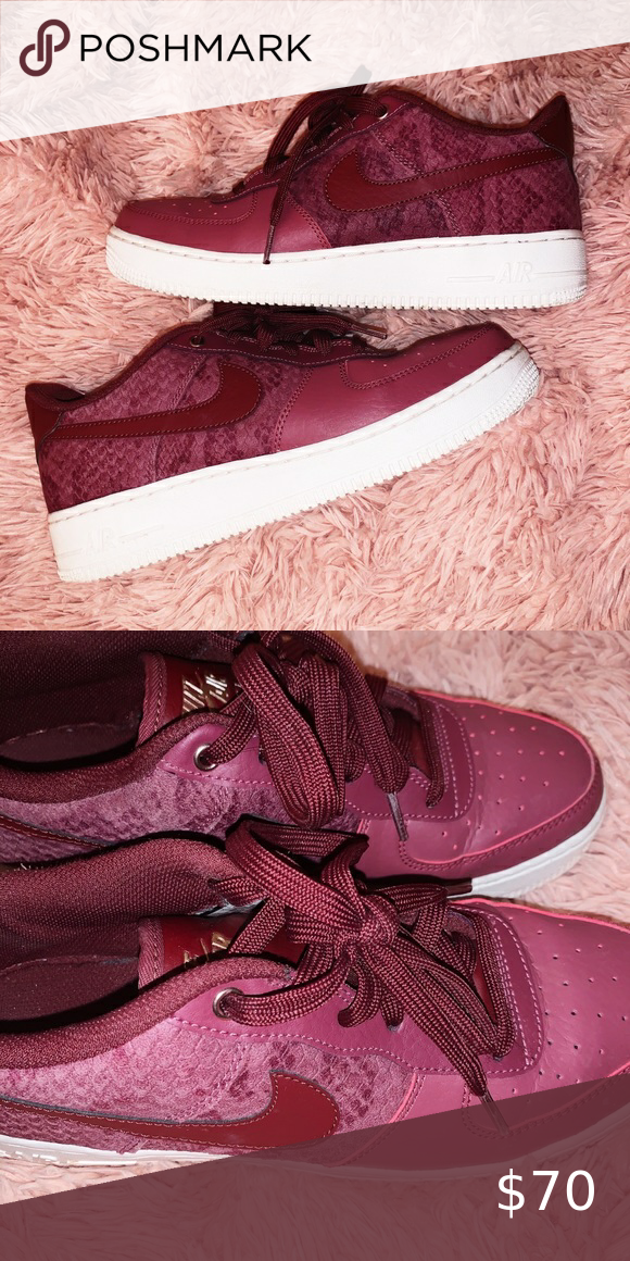 Nike Air Force Ones Womens Burgundy Red Snakeskin Nike Air Force Zones 8 5 Womens They Are A Nice Burgundy C Nike Air Force Ones Nike Air Force Burgundy Red