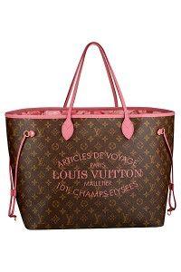 """790186750 Louis Vuitton's Spring/Summer 2013 Neverfull Bags. """"Louis Vuitton's  Articles de Voyage 101 Champs Élysées"""". in Indian Rose."""