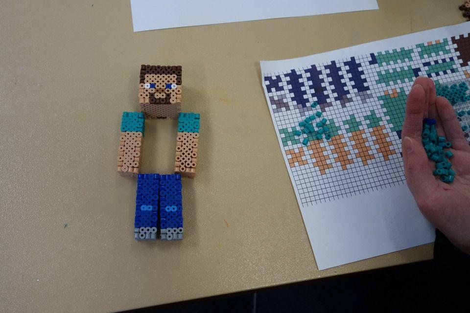 3d Perler Bead Minecraft Steve Children Perler Beads