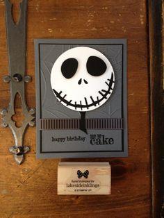 Stampin' Up! Nightmare before Christmas, Tim Burton  Jack Skellington, handmade birthday card, something to say