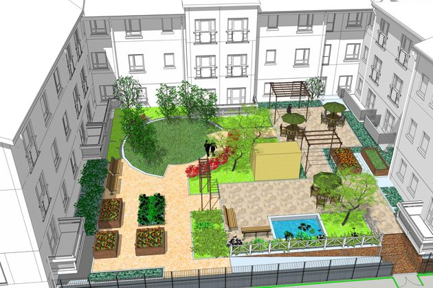 Care and retirement homes design EA External landscaping