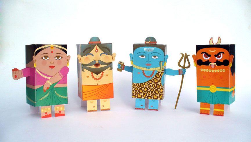 do-it-yourself paper toys: the Yogi, the Rakshasa, the Bharatnatyam Dancer & Shiva, http://grafficjam.deviantart.com/art/Cut-OK-Paste-119650565