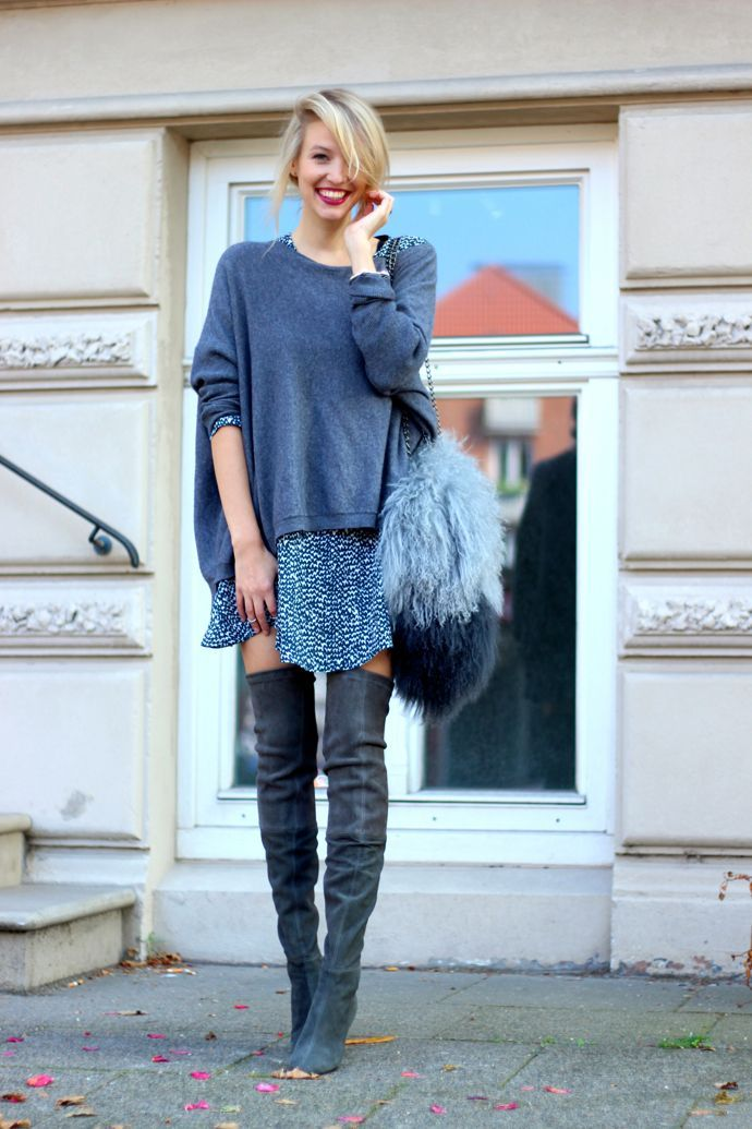 Printed dress, blue sweater and grey over the knee boots in suede.