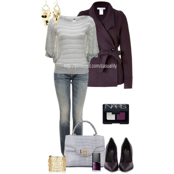 Purple Wrap Jacket & Grey Knitted Jumper - Polyvore