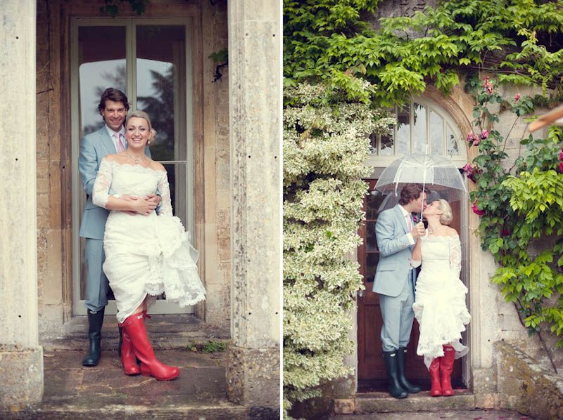 We loved this couple who embraced the rainy Summer and sported the Welly Wedding look :)