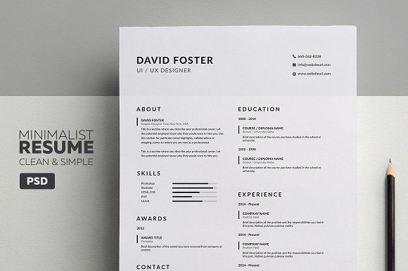 Minimalist ResumeCv  David By Made By Arslan On Creativemarket