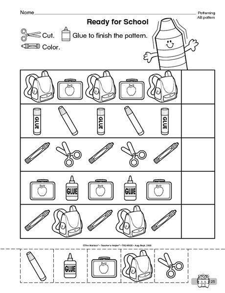 Back To School Worksheet Completing Ab Patterns The Mailbox Back To School Worksheets Pattern Worksheets For Kindergarten Preschool Pattern Worksheets