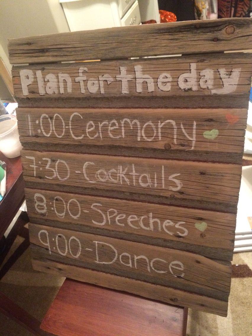 Old barn wood wedding day board