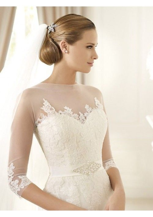 A Line Lace Straps Length Sleeve Sweep Bowknot Beading Wedding Dresses Gowns Bridal Gown