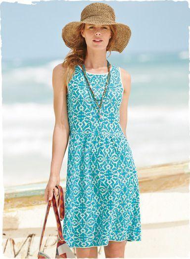Peruvian Connection Bahia Dress Turquoise Jacquard Pima Cotton $199 Size Medium #PeruvianConnection #Sundress #Casual