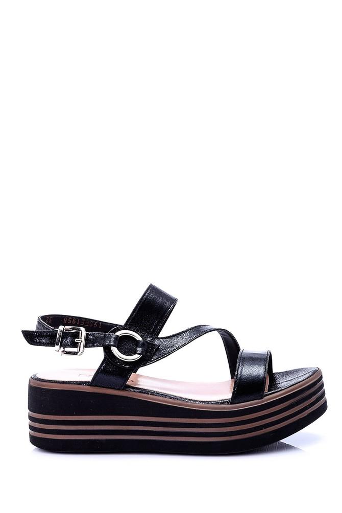 Siyah Kadin Dolgu Topuklu Sandalet 19sfe195832 Derimod Dolgu Topuklu Sandalet Topuklu Sandalet Sandalet