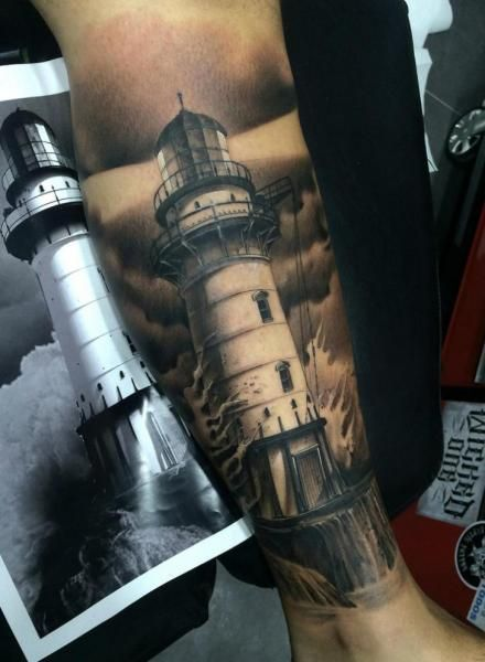 02ff7d058 18 Grand Black And Grey Lighthouse Tattoos | Tattoo | Maritime ...