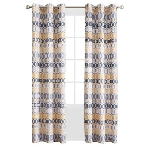 918 Denzel Geometric Print Casual Textured Grommet Curtain Panel