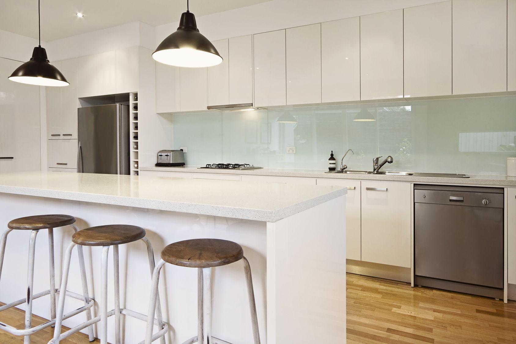 Ebony Black kitchen splashback. Classical combination of black and ...
