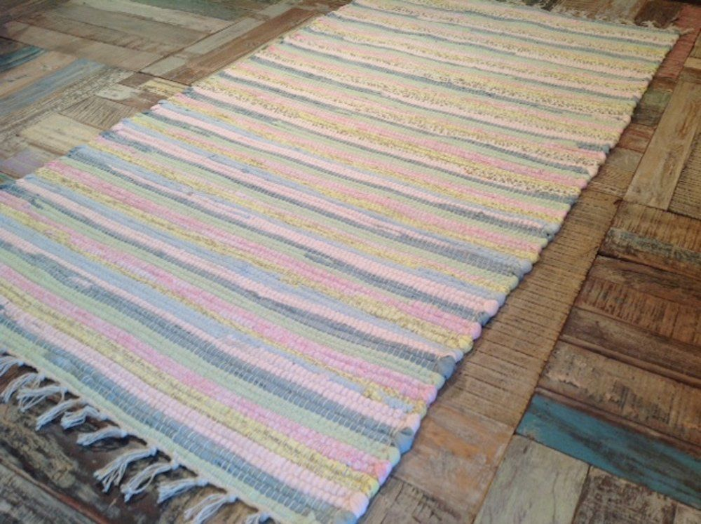 Recycled Cotton Rag Rug Pastel Multi Colours 75cm X 135cm Second Nature Exclusive