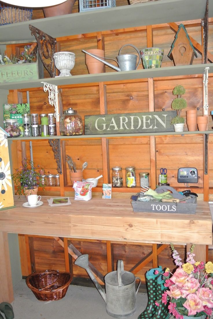 Decorating Inside Garden Shed Covered Potting Wall On