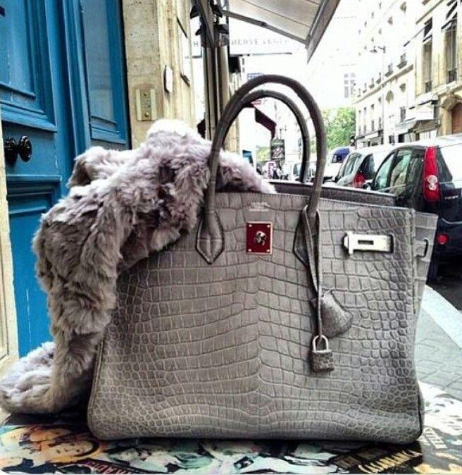Street Style fur & Hermès Crocodile Birkin | Hermes bag