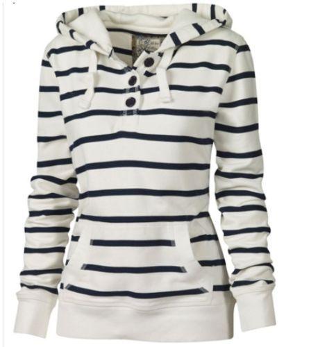 Women Casual Stripe Pattern Top Hoodie Hooded Sweatshirt